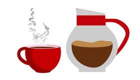 Caffè in una caffettiera con una tazza Immagini Stock