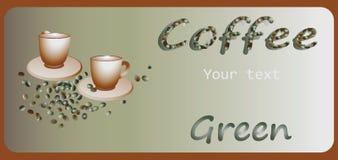 Caffè verde Progettazione dell'insegna, manifesto illustrazione di stock