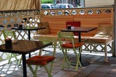 Caffè vuoto della via Fotografie Stock Libere da Diritti
