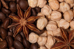 Caffè, ceci e anice stellato Fotografie Stock Libere da Diritti