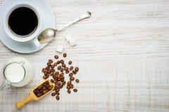 Caffè della tazza con lo spazio della copia e del latte Immagini Stock Libere da Diritti
