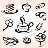 Caffe, bakery and other sweet pastry icons. Set Royalty Free Stock Image