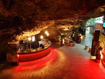 Caffe bar The cave. In the center of Mostar royalty free stock photography