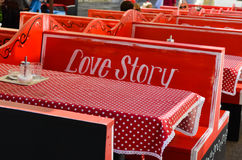 Caffe interior love story Royalty Free Stock Photos