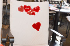 Caffe interior. Red caffe interior love story in Zagreb,Croatia. Chair,decorated with red hearts stock image