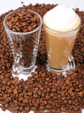 Caffe latte and coffee beans Stock Photo