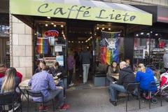 Caffe Lieto外部在西雅图,华盛顿 免版税库存照片