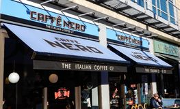 Caffe Nero and All Bar One. Reading, England - December 01 2017: Caffe Nero and All Bar One at Oracle Waterside, Reading stock image