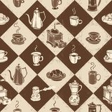 Caffe pattern. Seamless on a checkered background Royalty Free Stock Images