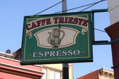 Caffe Trieste, a slalwart historic coffee shop in the North Beach of San Francisco royalty free stock photos