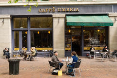 Caffe Umbrien auf abendländischer Allee, Seattle, WA Lizenzfreies Stockfoto
