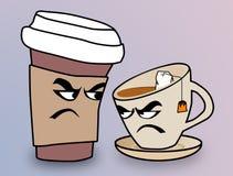 Caffee contra o chá imagens de stock