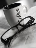 Caffee and newspaper stock image
