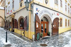Caffee and Restaurant in city of Prague Stock Image