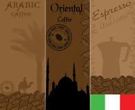 caffeeetiketter Arkivbilder