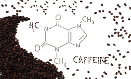 Caffeine. Chemical formula for caffeine in coffee beans Stock Photography