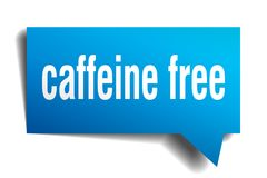 Caffeine free blue 3d speech bubble. Caffeine free blue 3d square isolated speech bubble Stock Photo