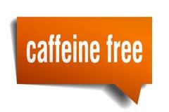 Caffeine free orange 3d speech bubble. Caffeine free orange 3d square isolated speech bubble Royalty Free Stock Images