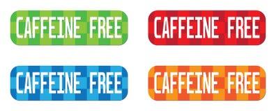 CAFFEINE FREE text, on rectangle, zig zag pattern stamp sign. CAFFEINE FREE text, on rectangle, zig zag pattern stamp sign, in color set Royalty Free Stock Photography
