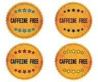 CAFFEINE FREE text, on round wavy border vintage, stamp badge. CAFFEINE FREE text, on round wavy border vintage stamp badge, in color set Stock Image