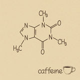 Caffeine. Hand drawn chemical model of caffeine molecule and cup of coffee stock illustration