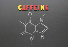 Caffeine. The image and the inscription letters on a blackboard Stock Image