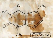 Caffeine. Mixed media artwork. Hand drawn. Grunge style stock illustration