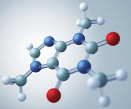 Caffeine molecular model. Caffeine is an alkaloid that acts as a central nervous system stimulant Royalty Free Stock Photos