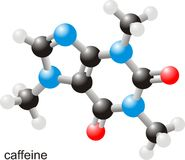 Caffeine molecule. Spherical model of caffeine molecule Stock Photo