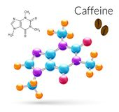 Caffeine molecule 3d. Caffeine 3d molecule chemical science atomic structure poster vector illustration Royalty Free Stock Photo