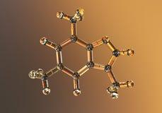 Caffeine molecule, illustration. Caffeine is found in coffee, tea, energy drinks, is used in medicine. Caffeine molecule, 3d illustration. Caffeine is found in royalty free illustration