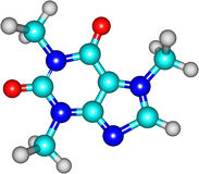 Caffeine molecule. Main component of a cup of coffee Stock Images