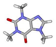 Caffeine sticks molecular model. Optimized molecular structure of caffeine on a white background stock illustration