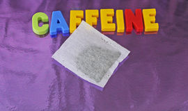 Caffeine and tea bag Royalty Free Stock Image