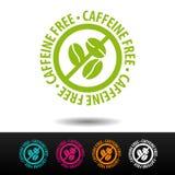 Caffeinel bezpłatna odznaka, logo, ikona Płaska wektorowa ilustracja na białym tle Może być używać biznesowa firma Obrazy Royalty Free