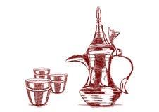 Caffettiera araba disegnata a mano di vecchio stile - vettore Fotografia Stock