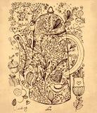 Caffettiera disegnata a mano illustrazione vettoriale