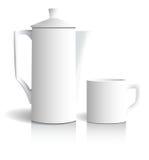 Caffettiera e tazza Fotografia Stock