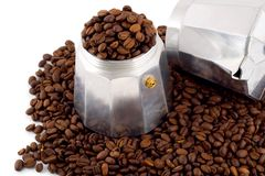 Caffettiera stabilita del chicco di caffè del caffè espresso Immagini Stock