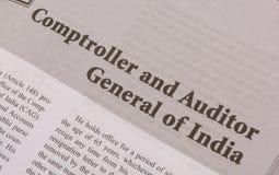 CAG of controleur en Auditor General van India op zwart-wit document wordt gedrukt dat royalty-vrije stock afbeelding