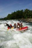 Cagayan de Oro用筏子运送水白色的菲律宾 库存照片