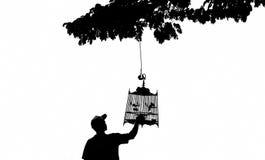 Cage à oiseaux accrochante Images libres de droits