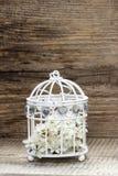 Cage à oiseaux avec des fleurs à l'intérieur sur le bois rustique Photo stock