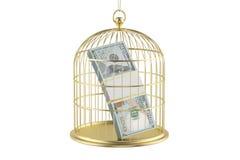 Cage à oiseaux avec le billet d'un dollar à l'intérieur, rendu 3D Photographie stock libre de droits