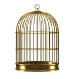 cage à oiseaux de l'or 3d Image libre de droits