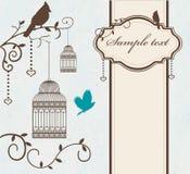 Cage à oiseaux de vintage avec des branches et des oiseaux d'arbre Photo libre de droits