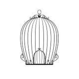 Cage à oiseaux modelée par silhouette Photos stock