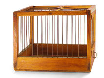 Cage. Made of wood with iron rods, isolated Royalty Free Stock Photography