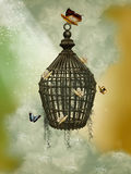 Cage. Fantasy cage with butterflies in the sky stock illustration