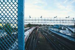 The cage above the railway/клетка над железной дорогой Royalty Free Stock Photos